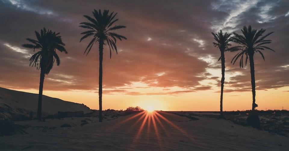 Lever de soleil en Tunisie.